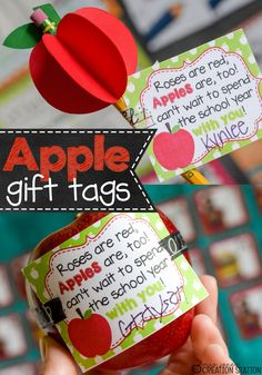 FREE Apple Teacher Gift Tags to show your excitement for the new school year! It could even be a gift to students from a teacher!