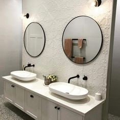 How stunning is this bathroom? The beautiful white painted pressed metal feature wall is just amazing! Brick Bathroom, Modern Bathroom, Bathroom Inspo, Bathroom Ideas, Old Style House, Bathroom Renovations, House Renovations, Bathrooms, Fleur Design