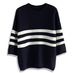94cb984e147e9 Chicwish Funky Striped Sweater in Navy ( 51) ❤ liked on Polyvore featuring  tops,