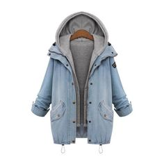 SheIn(sheinside) Hooded Drawstring Boyfriend Trends Jean Swish Pockets... ($38) ❤ liked on Polyvore featuring outerwear, coats, jackets, tops, blue, single-breasted trench coats, hooded coat, drawstring coat, collar coat and short sleeve coat