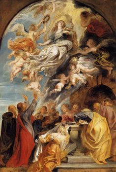 The Assumption of Mary via Peter Paul Rubens Size: 59x88 cm Medium: oil, panel
