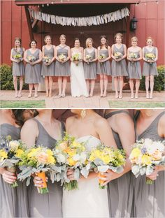 gray bridesmaids dresses with yellow wedding bouquets