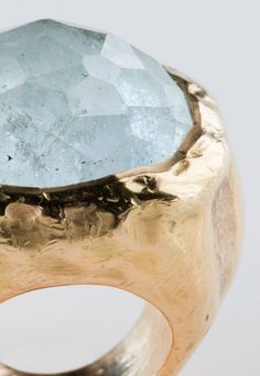 Aquamarine handcrafted in 18k gold, by Alexandra Goller