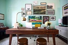 A new interior design collection which features 16 Spectacular Mid-Century Modern Home Office Designs For A Retro Feel. New Interior Design, Home Office Design, Office Decor, House Design, Office Designs, Wall Design, Modern Home Offices, Design Blog, Creative Decor