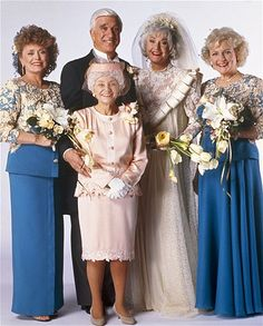 THE GOLDEN GIRLS -- Season 7 -- Pictured: (l-r)Rue McClanahan as Blanche Devereaux, Leslie Nielsen as Lucas Hollingsworth Estelle Getty as Sophia Petrillo, Beatrice Arthur as Dorothy Petrillo-Zbornak, Betty White as Rose Nylund -- Photo by: Joey Del Valle/NBCU Photo Bank