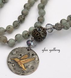 30+Bohemian+knotted+Necklace+with+Kiwi+Jasper+beads+by+gleegallery