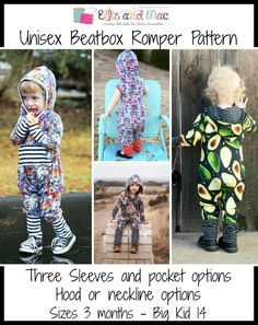 Unisex Beatbox Romper Pattern - Ellie and Mac, Digital (PDF) Sewing Patterns Sewing Patterns For Kids, Sewing For Kids, Baby Patterns, Ellie And Mac Patterns, Sewing Designs, Pdf Patterns, Pattern Ideas, Clothes Patterns, Dress Patterns