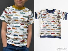 Two variations - Sew t-shirt - Use this FREE pattern to sew a toddler size t-shirt - Melly Sews T Shirt Sewing Pattern, Boys Sewing Patterns, Clothing Patterns, Toddler Fashion, Toddler Outfits, Boy Outfits, Sewing Kids Clothes, Children Clothes, Kids Clothing