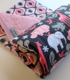 Baby Girl Quilt, Zoology-It's a Girl Thing, Modern, Safari, Elephant, Hippo, Giraffe, Michael Miller, Pink and Gray, Crib Bedding