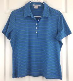 Womens NikeGolf Fit Dry Short Sleeve Collared Polo Blue Green Striped Sz L 12-14 #NikeGolf #ShirtsTops