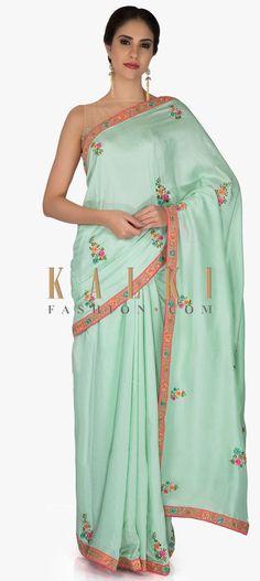 Sea Green Saree In Silk And Pink Raw Silk Blouse With Resham Butti And Sequins Online - Kalki Fashion Green Saree, Green Silk, Punjabi Suits, Floral Motif, Silk Sarees, Sari, Sequins, Blouse, Pink