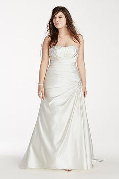 Satin Plus Size Wedding Dress with Side Drape 9OP1241