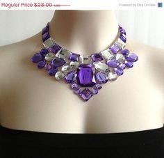 ON SALE bib light purple necklace party prom wedding by BienBijou, $25.20ON SALE bib light purple necklace party, prom, wedding, Christmas, bridesmaid necklace Rhinestone big necklace