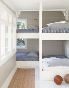 love this for bed idea.Sydney-based designer Justine Hugh-Jones bunk room for a beach house.just minus the gingerbread detailing. House Design, Small Spaces, Home, Blue White Bedroom, Home Bedroom, Bed, Bunk Beds Built In, Bunk Rooms, Built In Bed