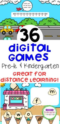 If you've been looking for digital games for Kindergarten or Pre-k, here are 36 awesome ones that promote learning for early learners. They are perfect for distance learning so make sure to check them out! #distancelearning #kindergarten #prek #digitalgames