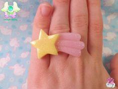 Fairy Kei Kawaii Shooting Star Ring - Pink