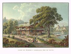 Maison de pêcheurs à Scherzligen près de Thoune - Aquatinte - gravure imprimée en couleurs par Johann HÜRLIMANN (1793-1850) d'après Mathias Gabriel LORY fils (1784-1846) - MAS Estampes Anciennes - MAS Antique Prints
