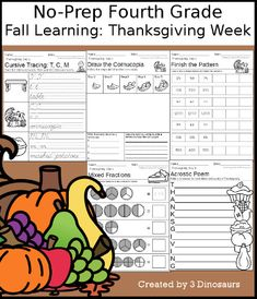 3 Dinosaurs - Fall Learning: Fourth Grade Thanksgiving Week Cursive Words, Cvce Words, Thanksgiving Words, Thanksgiving Activities For Kids, Skills To Learn, Learn To Read, Short E Words, Making Words, Compound Words