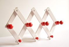Vintage Wooden Peg Rack  Folding Wall Hanging  by thelittlebiker