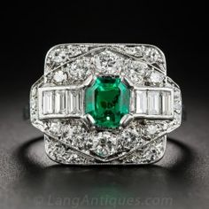 Gem Emerald and Diamond Art Deco Ring - What's New