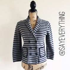 "LOFT Gray and Navy Stripe Knit Blazer Gray and navy blue stripes make up this knit blazer. Perfect for the office or to throw on for weekend errands. Size M. 100% cotton. Bust is 17"" and it is 22"" long. Excellent condition – no signs of wear, holes, or defects.  Medium-weight knit – not too heavy! Thanks for looking! LOFT Jackets & Coats"