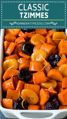 This tzimmes recipe is a colorful stew made with sweet potatoes, carrots and dried fruit. An easy traditional Jewish side dish option that pairs perfectly with chicken or beef. Side Dishes For Salmon, Steak Side Dishes, Side Dishes For Chicken, Dinner Side Dishes, Best Side Dishes, Side Dish Recipes, Lunch Recipes, Vegetable Recipes, Main Dishes