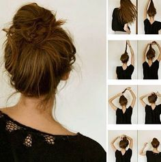 how-to messy bun, perfect for those lazy sundays. I do this at some point almost every day. It's so easy and comfy!