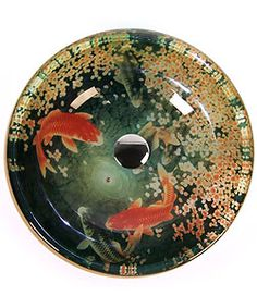 @Overstock.com - Fontaine Koi and Lily Pond Glass Vessel Bathroom Sink - Give your powder room an instant upgrade with this impressive Fontaine Koi and Lily Pond bathroom sink.