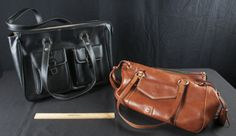 LARGE BROWN LEATHER DOONEY & BOURKE TOTE BAG WITH RED CLOTH AND GREEN SUEDE INTERIOR - LARGE BLACK COMPUTER BAG, AGENDA BY FRANKLIN COVEY