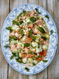 Hot smoked salmon salad with new potatoes and a lemon yoghurt dressing