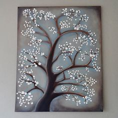 White Cherry Blossom Tree Painting - Crafts by Amanda Diy Canvas, Canvas Art, Blank Canvas, Tree Canvas, Diy Wall Art, Diy Art, White Cherry Blossom, Cherry Blossoms, Cherry Tree