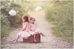 sisters fall photo shoot- I've got a suitcase that might look cute for them to sit on