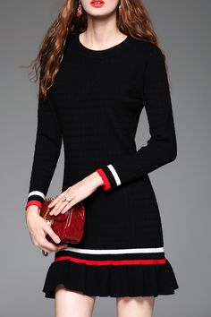 Flounce Ruffles Sheath Sweater Dress
