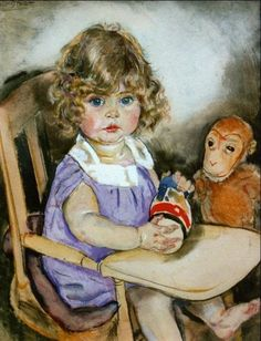 Jan Sluijters  Girl with a toy, oil on canvas.   Johannes Carolus Bernardus Sluijters was a Dutch painter. He was a pioneer of various post-impressionist movements in the Netherlands, such as fauvism, and colourful expressionism.