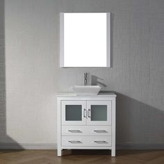 "Virtu Dior 32"" Single Bathroom Vanity Set with Mirror & Reviews 