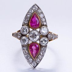 Antique Diamond and Ruby Ring | From a unique collection of vintage cocktail rings at http://www.1stdibs.com/jewelry/rings/cocktail-rings/