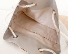 Gray Canvas Tote Beach Bag Khaki Canvas Purse by theAtlanticOcean