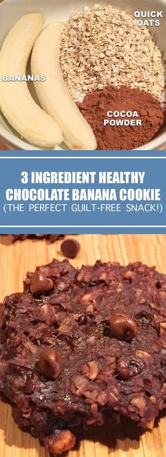 3 Ingredient Healthy Chocolate Cookie Recipe (the perfect guilt-free snack!) - foodrecipes Easy Cookie Recipes, Sugar Free Recipes, Easy Desserts, Gourmet Recipes, Dessert Recipes, Simple Recipes, Recipes Dinner, Diet Recipes, Diet Meals