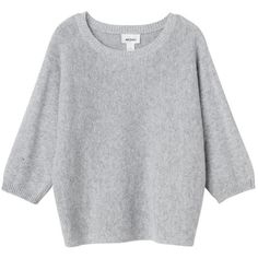 Monki Malibu knitted top (€20) ❤ liked on Polyvore featuring tops, sweaters, grey cloud melange, long sleeves, cocktail tops, special occasion tops, evening tops, gray top and knit top