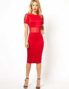 AX Paris Body-Conscious Dress with Mesh Panels