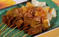 Sate Padang, Beef Satay with spicy sauce, Indonesia #food