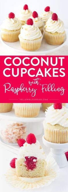 Coconut Cupcakes with Raspberry Filling, topped with coconut frosting and toasted coconut. Such a sweet and yummy spring dessert! via /yellowblissroad/