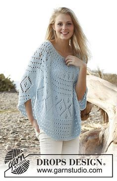Ponchos & Shawls - Free knitting patterns and crochet patterns by DROPS Design Poncho Crochet, Mode Crochet, Knit Or Crochet, Knitted Shawls, Crochet Hooks, Knitting Patterns Free, Knit Patterns, Free Knitting, Free Pattern
