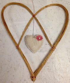 Copper wire, willow & crochet twirly heart...