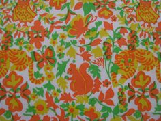 Somewhat autumnal vintage Lilly Pulitzer print from The Lilly maxi dress (circa 1970s) (print name unknown).