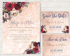 Country Boots Navy Rose Gold Burgundy pink maroon Flowers Wood Wedding Invitation rsvp set Save the date card magnet mason jar