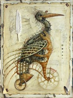 "Steampunk bird by Russian artist Vladimir Gvozdev, known as ""Gvozdariki"""