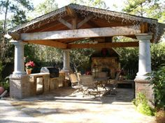 18 x 18 complete with a cedar pavilion flagstone patio outdoor kitchen - Outdoor Covered Patio Ideas