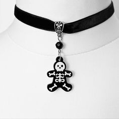 Gothic Choker, gothic necklace, Gingerbread man necklace, gothic jewellery, skull necklace, christmas necklace, acrylic necklace, gift. by MetalLiquor on Etsy