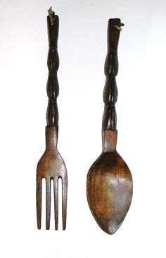 Wooden Fork and Spoon 70s Kitchen Wall hanging Classic 70s decor